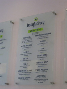 Body Factory smoothie menu
